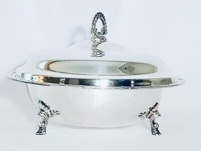 Beautiful Vintage Silver Plated Serving Dishes With Cover And Legs
