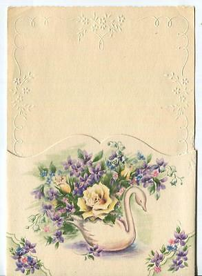 Vintage Swan Bird Planter Violets Roses Lily Of The Valley Vinca Greeting Card