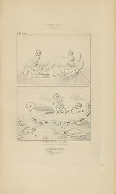 Antique Roman Grecian Artistic Nude Pgymy Fishing Carved Boat Folk Art Old Print