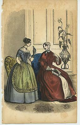 Antique Victorian Girl Costume Fashion Dress Exotic Bird Flower Distressed Print