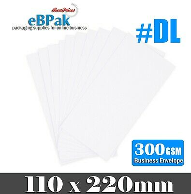 1000x Card Mailer DL 220x110mm Tough Envelope 300gsm White