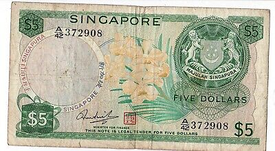 Singapore 5 Dollars Banknote 1967  Boat Orchid A/42 372908 Rare