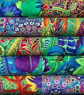 10 Kaffe Fassett collective quilting cotton fabric prints 5 inch squares #39a