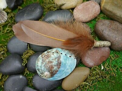 Smudging Kit Smudge Feather Wand  (Small Abalone Shell 7.5cm)