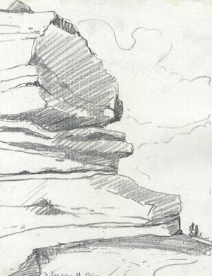 Marcus Adams - Early 20th Century Graphite Drawing, Rock Formation, Filey