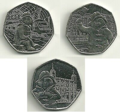 3x Paddington Bear 50p Coins ~ Tower, Station & Buckingham Palace Fifty Pence