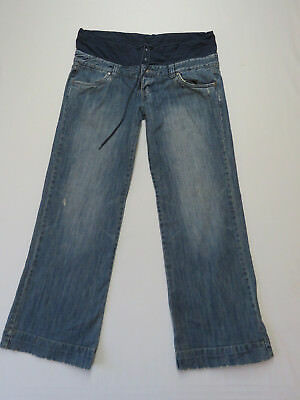 Ladies Rusty Blue Denim Wide Leg Distressed Jeans Size 14