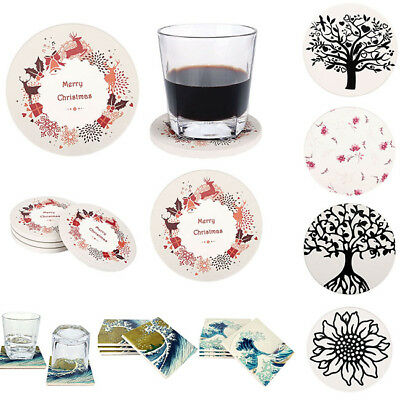 Absorbent Ceramic Stone Coaster Set Cup Pads Flower Design Square Round Shaped