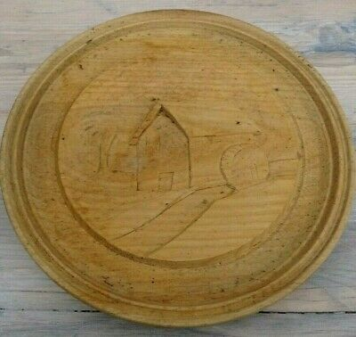 Large Antique Hand Carved Wooden Butter Mold , Mould, Press ,Stamp  Mill