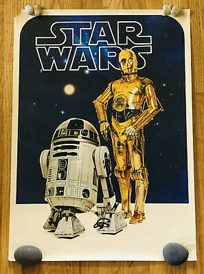 VINTAGE 1977 ORIGINAL R2D2 AND C3PO COMMERCIAL STAR WARS POSTER 28x20 FACTORS