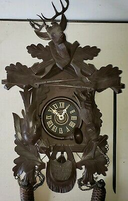 Vintage Large Germany Cuckoo Clock  Deer Head Rabbit Bird See all pics