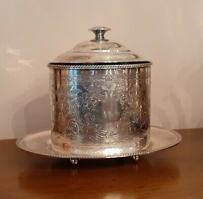 Antique Barker Ellis Silver Plated Ornate Engraved Footed Oval Tea/Biscuit Caddy
