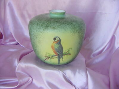 Antique Deco Era Vintage Large Parrot Glass Hand Painted Lamp Shade Globe