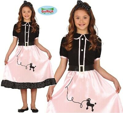 Childs 1950s Poodle Girl Fancy Dress Costume Kids 50s 50's Girls Outfit fg