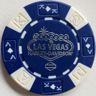 Harley Davidson Poker Chip Las Vegas Nevada Blue & White