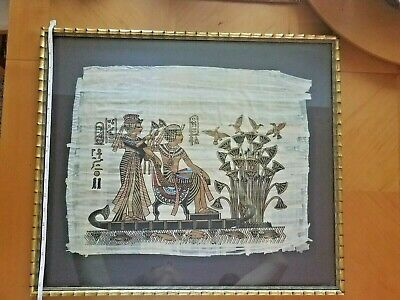 Ancient Egypt Art -King Tut in his boat with wife - lotus flower - Papyrus