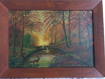 American 19th Century Oil Painting Folk Art With Deer - Antique Framed