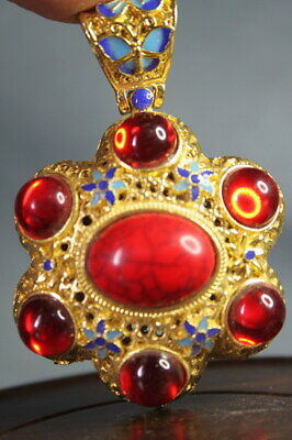 Collectable Decoration Handmade Miao Silver Inlay Many Ruby Beautiful Pendant