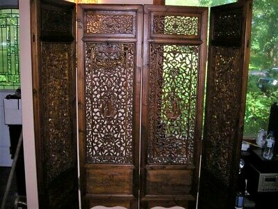 Top Quality Lovely Ornate Antique Late Qing Dynasty Chinese 4 Panel Screen