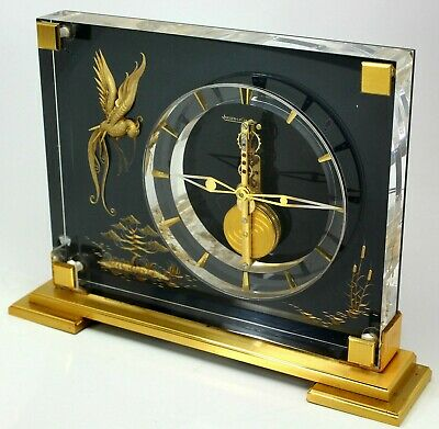 Rare 8 Days Jaeger Lecoultre bar Work Swiss Chinese Marina Table Clock
