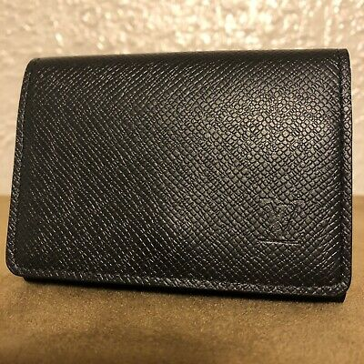 Authentic Louis Vuitton Black Taiga Leather Business Card Holder