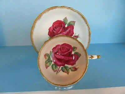 Vintage Paragon Huge Deep Red Rose Wide Mouth Cup And Saucer