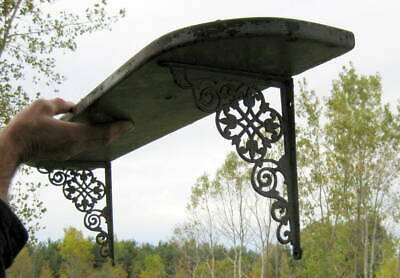 Antique Victorian Era Shelf With Ornate Iron Brackets / Primitive Rustic Country