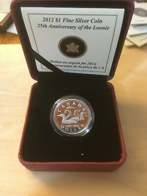 2012 Silver '25th Anniversary of the Loon' $1 Proof Coin .9999 Fine