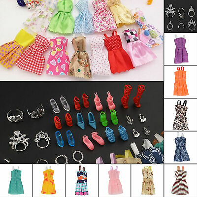 30pcs Dolls Clothes Dress Set Shoes Jewellery for Barbie Dolls Accessories Kit