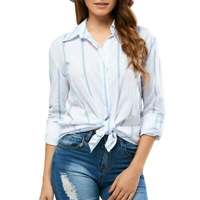 Women Simple Loose Striped Pattern Blouse Novel Lapel Long-sleeved Fashion Shirt