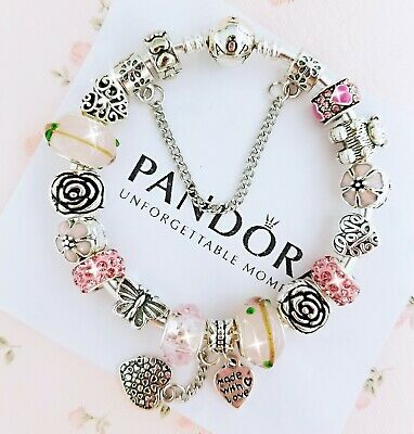 Pandora Bracelet Silver Bangle with Pink Love Heart European Charms NEW