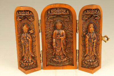 big Chinese boxwood hand carved buddha kwan-yin statue netsuke box part flaw