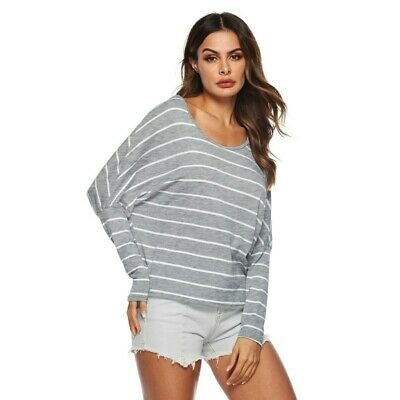 Casual Striped Pattern Batwing Sleeve Tops Long Sleeve Women Fashion T-shirt