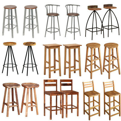 2 pcs Bar Stools Wooden Metal Breakfast Kitchen Chairs High Legs Dining Seat New