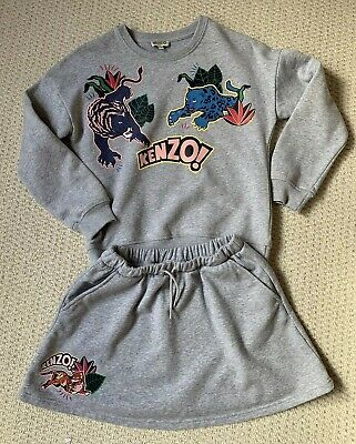 KENZO Girls Sweatshirt & Skirt Outfit Grey Tiger Age 10 Ex Condition