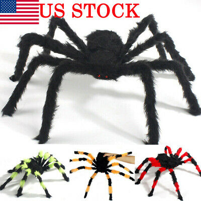 150CM/5FT Plush Giant Spider Decoration Halloween Haunted House Garden Props USA