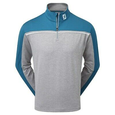 FootJoy Mens Chest Piped Chillout Golf Pullover Sweater Jumper (Grey Indigo)