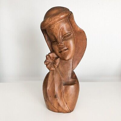 Wooden Mid Century Hand Carved Monkey Pod Madonna Bust Statue Woman Long Hair