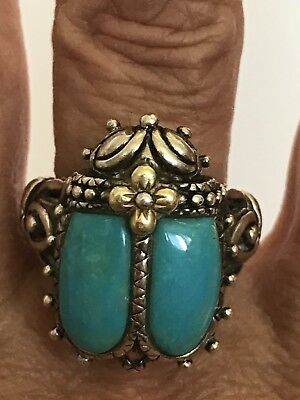 Barbara Bixby 18K Sterling Turquoise Scarab Beetle Ring Size 6 Ancient Egyptian