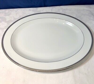 Bernardaud Limoges Porcelain Athena Platinum Oval Tray 38 cm Vassoio NEW IN BOX