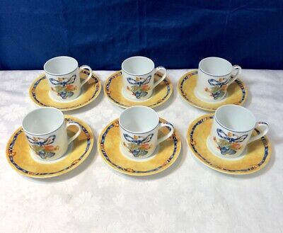 Bernardaud Limoges Porcelain Borghese Bleu 6 Coffee Cups & saucer NEW IN BOX