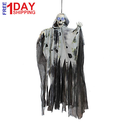 Life Size Animated Ghost with LED Eyes and Spooky Sounds, Halloween Decorations