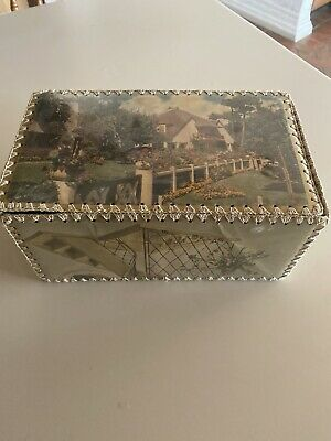 Antique Folk Art Vintage Box W/ Lid Made From Old Christmas Cards Retro Art Deco