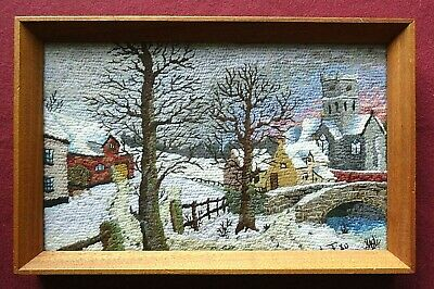 Vintage Framed & Glazed Art Needlework Embroidery of Winter Village Scene