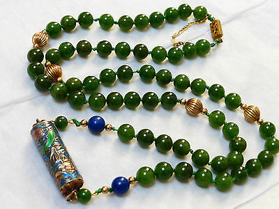 VINTAGE CHINESE ENAMEL NATURAL GREEN JADE 8mm BEAD NECKLACE 14KGF CLASP