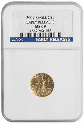2007 - $5 1/10oz American Gold Eagle MS69 NGC - Early Release Blue