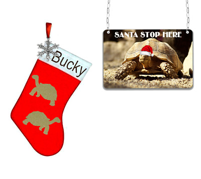Tortoise mini christmas stocking and sign for your pet xmas personalised reptile