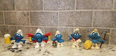 Smurfs Lot 5 Vintage Figures 1975-81 Peyo Schleich DR. Wings Lantern Wheat Beer