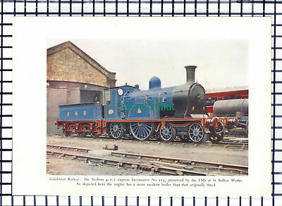 C6729) Caledonian Railway Locomotive No 123 St Rollox Works -   1950 Print