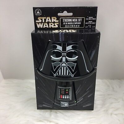NEW Disney Parks Star Wars 3pc Stacking Meal Set Plate Bowl Cup Darth Vader